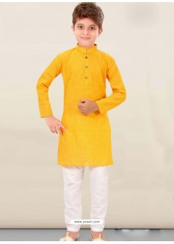 Yellow Cotton Kurta Pajama