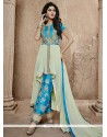 Sky Blue Bhagalpuri Silk Pant Style Salwar Suit