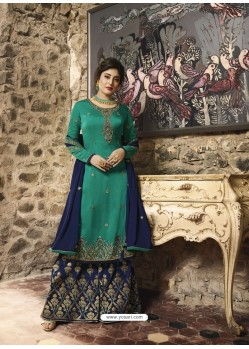 Teal And Navy Satin Georgette Embroidered Designer Sarara Suit