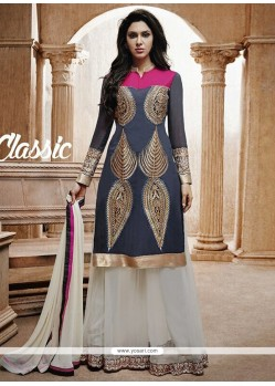 Grey Bhagalpuri Silk Designer Salwar Suit
