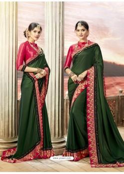Dark Green Rangoli Silk Stone Worked Party Wear Saree