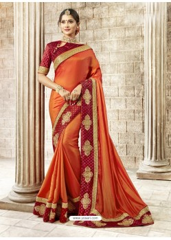 Orange Rangoli Silk Stone Worked Party Wear Saree