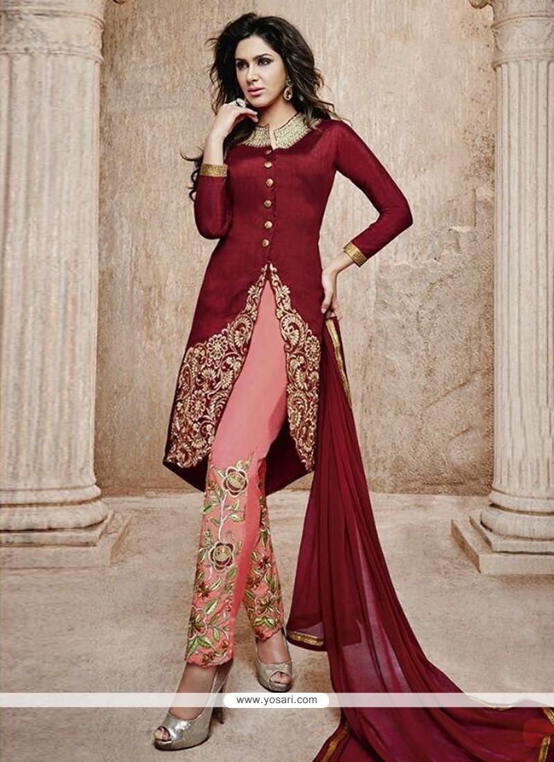 Maroon Bhagalpuri Silk Pant Style Salwar Suit