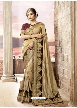 Beige Rangoli Silk Stone Worked Party Wear Saree