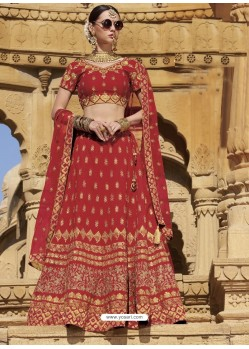 Red Raw Silk Heavy Embroidered Designer Bridal Lehenga Choli