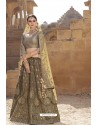 Multi Colour Raw Silk Heavy Embroidered Designer Bridal Lehenga Choli