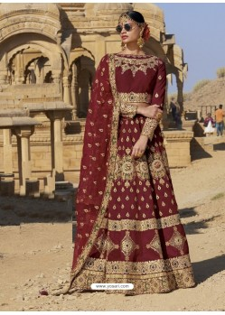 Maroon Raw Silk Heavy Embroidered Designer Bridal Lehenga Choli
