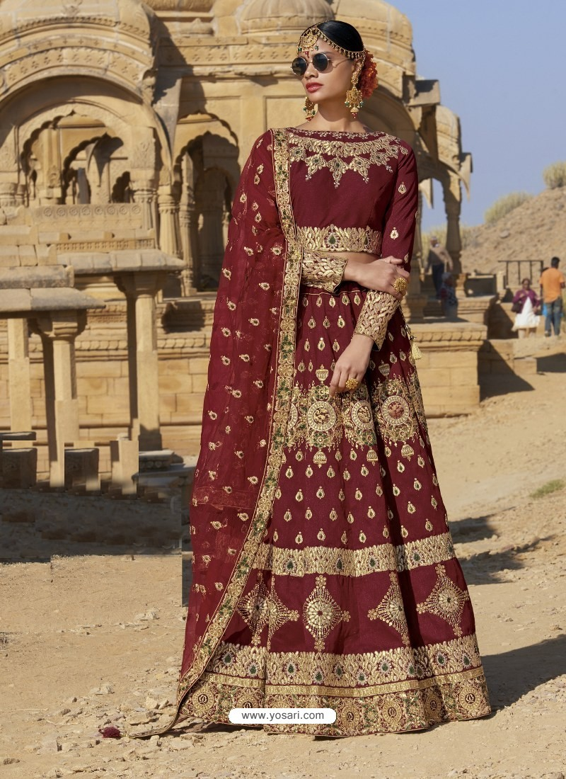 4eeb9781cd824e Buy Maroon Raw Silk Heavy Embroidered Designer Bridal Lehenga Choli ...