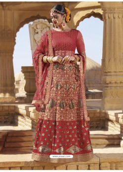 Crimson Raw Silk Heavy Embroidered Designer Bridal Lehenga Choli
