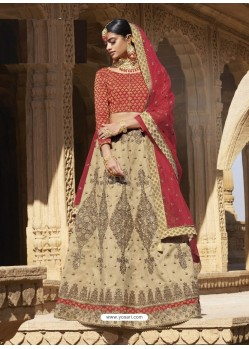 Beige And Red Raw Silk Heavy Embroidered Designer Bridal Lehenga Choli
