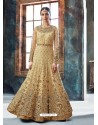 Beige Butterfly Net Heavy Embroidered Designer Anarkali Suit