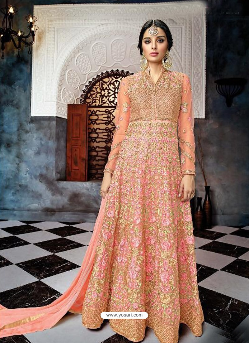 Peach Butterfly Net Heavy Embroidered Designer Anarkali Suit