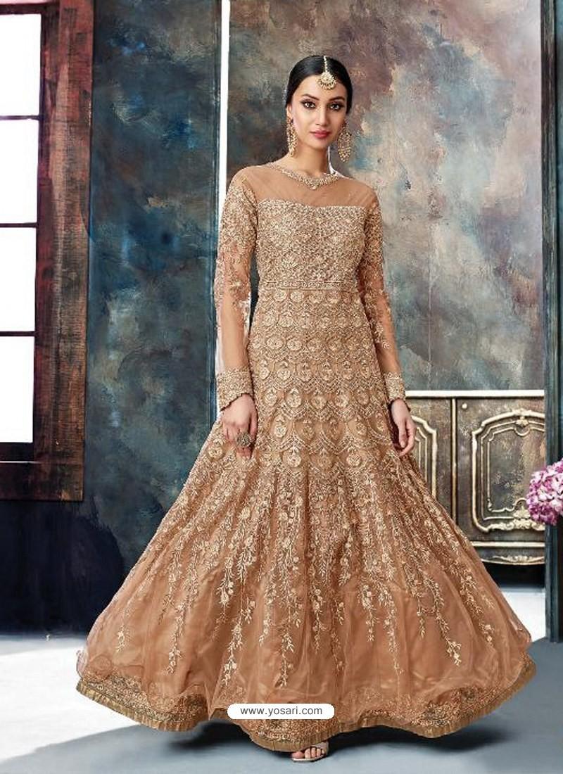 Light Brown Butterfly Net Heavy Embroidered Designer Anarkali Suit