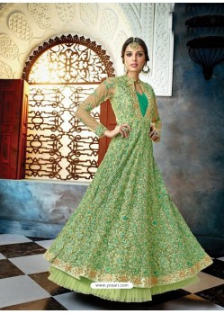 Green Butterfly Net Heavy Embroidered Designer Anarkali Suit