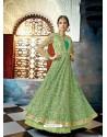Green Butterfly Net Heavy Embroidered Designer Anarkali Suit