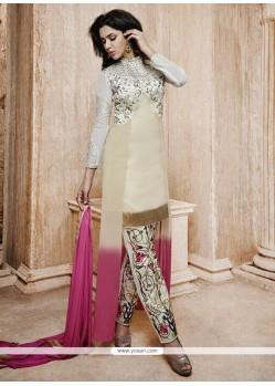 Cream Bhagalpuri Silk Pant Style Salwar Suit