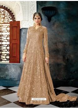 Camel Butterfly Net Heavy Embroidered Designer Anarkali Suit