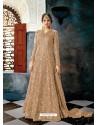 Camel Butterfly Net Heavy Embroidered Designer Anarkali Suit