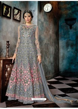 Grey Butterfly Net Heavy Embroidered Designer Anarkali Suit