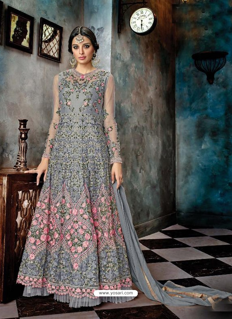 Grey Butterfly Net Heavy Embroidered Designer Anarkali Suit