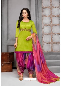 Parrot Green And Multi Colour Silk Embroidered Patiala Salwar Suit