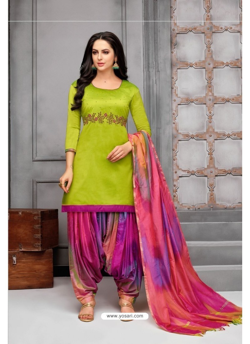 c270fe22ea Buy Parrot Green And Multi Colour Silk Embroidered Patiala Salwar ...
