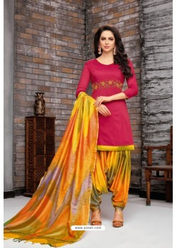 Rose Red And Multi Colour Silk Embroidered Patiala Salwar Suit
