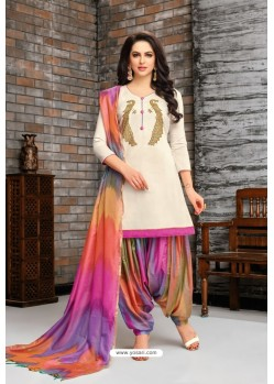 Off White And Multi Colour Silk Embroidered Patiala Salwar Suit