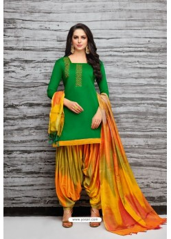 Forest Green And Multi Colour Silk Embroidered Patiala Salwar Suit