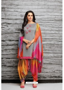 Grey And Multi Colour Silk Embroidered Patiala Salwar Suit