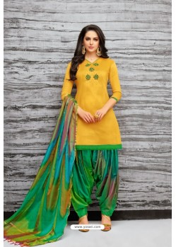 Yellow And Green Silk Embroidered Patiala Salwar Suit