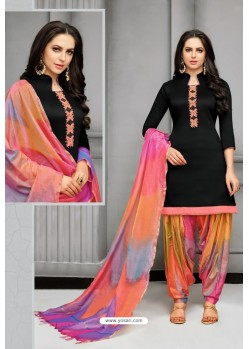 Black And Multi Colour Silk Embroidered Patiala Salwar Suit