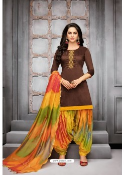 Coffee And Multi Colour Silk Embroidered Patiala Salwar Suit