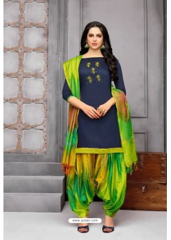 Navy Blue And Multi Colour Silk Embroidered Patiala Salwar Suit