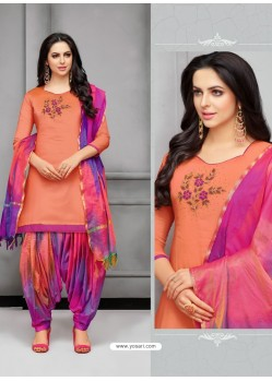 Light Orange And Multi Colour Silk Embroidered Patiala Salwar Suit