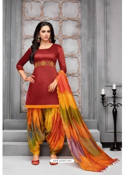Maroon And Multi Colour Silk Embroidered Patiala Salwar Suit