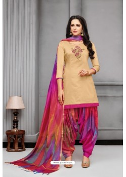 Light Beige And Multi Colour Silk Embroidered Patiala Salwar Suit