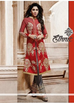 Red Bhagalpuri Silk Pant Style Suit