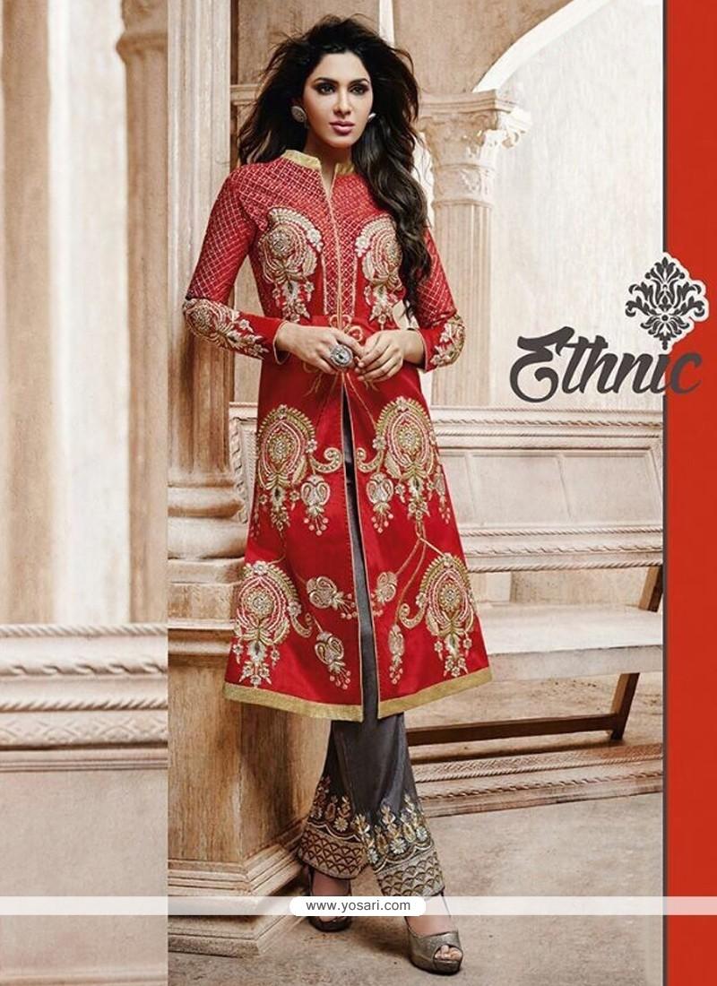 Red Bhagalpuri Silk Pant Style Suit