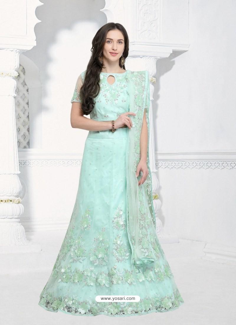 ad4af706e6dcf6 Buy Sky Blue Silk Net Embroidered Designer Lehenga Choli | Designer ...