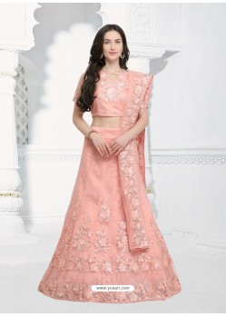 Pretty Peach Silk Embroidered Designer Lehenga Choli