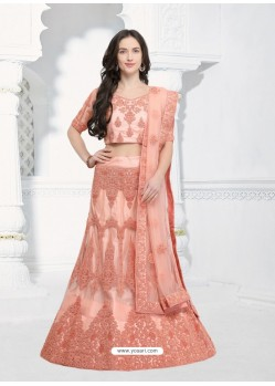 Adorable Peach Net Embroidered Designer Lehenga Choli