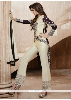 Exquisite Cream Emroidered Designer Salwar Suit