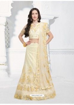 Cream Silk Net Embroidered Designer Lehenga Choli