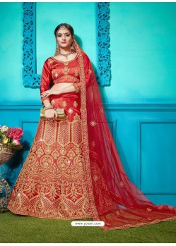 Red Pure Satin Silk Zari Embroidered Designer Lehenga Choli