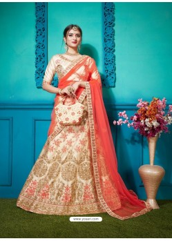 Light Beige Pure Satin Silk Zari Embroidered Designer Lehenga Choli