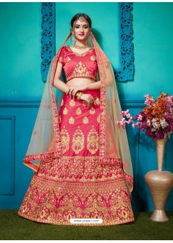 Crimson Pure Satin Silk Zari Embroidered Designer Lehenga Choli