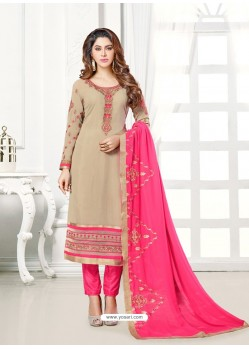 Beige And Pink Georgette Embroidered Straight Suit