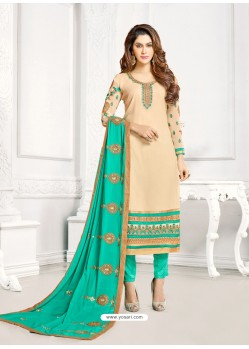 Light Beige And Mint Georgette Embroidered Straight Suit