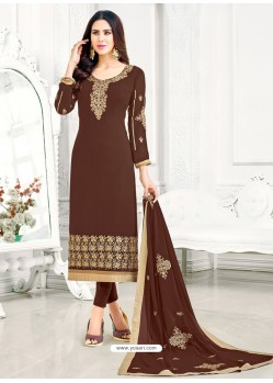 Coffee Georgette Embroidered Straight Suit